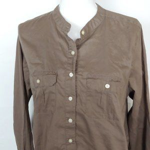 Gap Brown Collarless Button Down Shirt XL